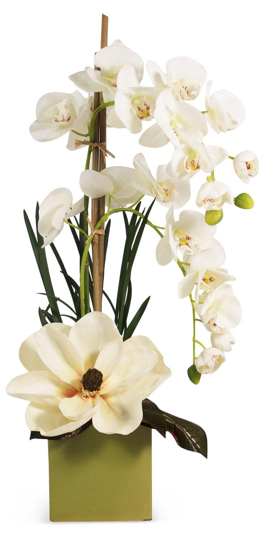 "26"" Orchid & Magnolia Cube, Faux"