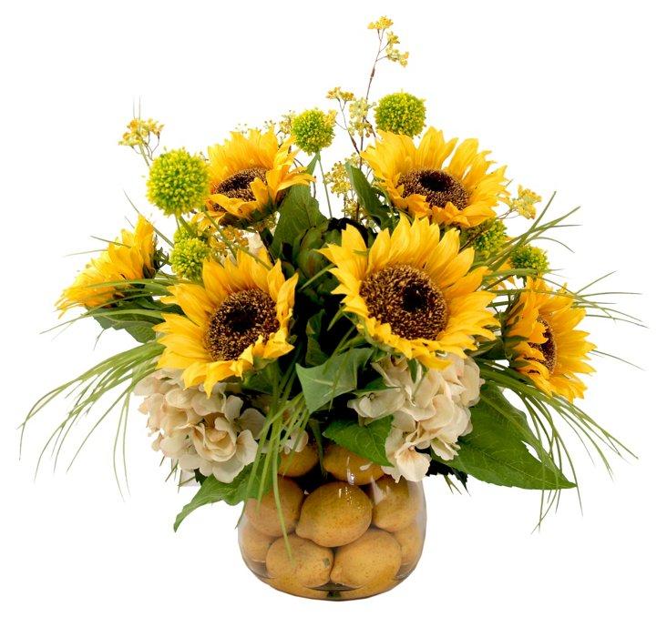 """23"""" Sunflower & Artichoke in Vase, Faux"""