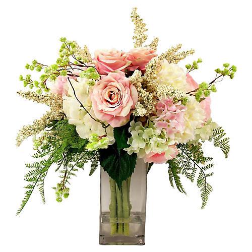 """26"""" Hydrangea & Rose in Vase, Faux"""