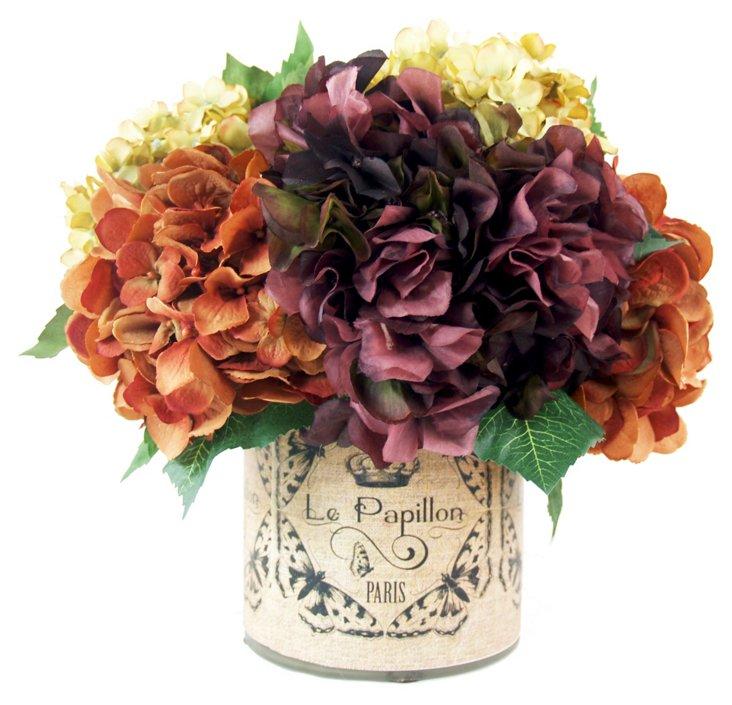 """13"""" Hydrangea in Decoupage Pot, Faux"""