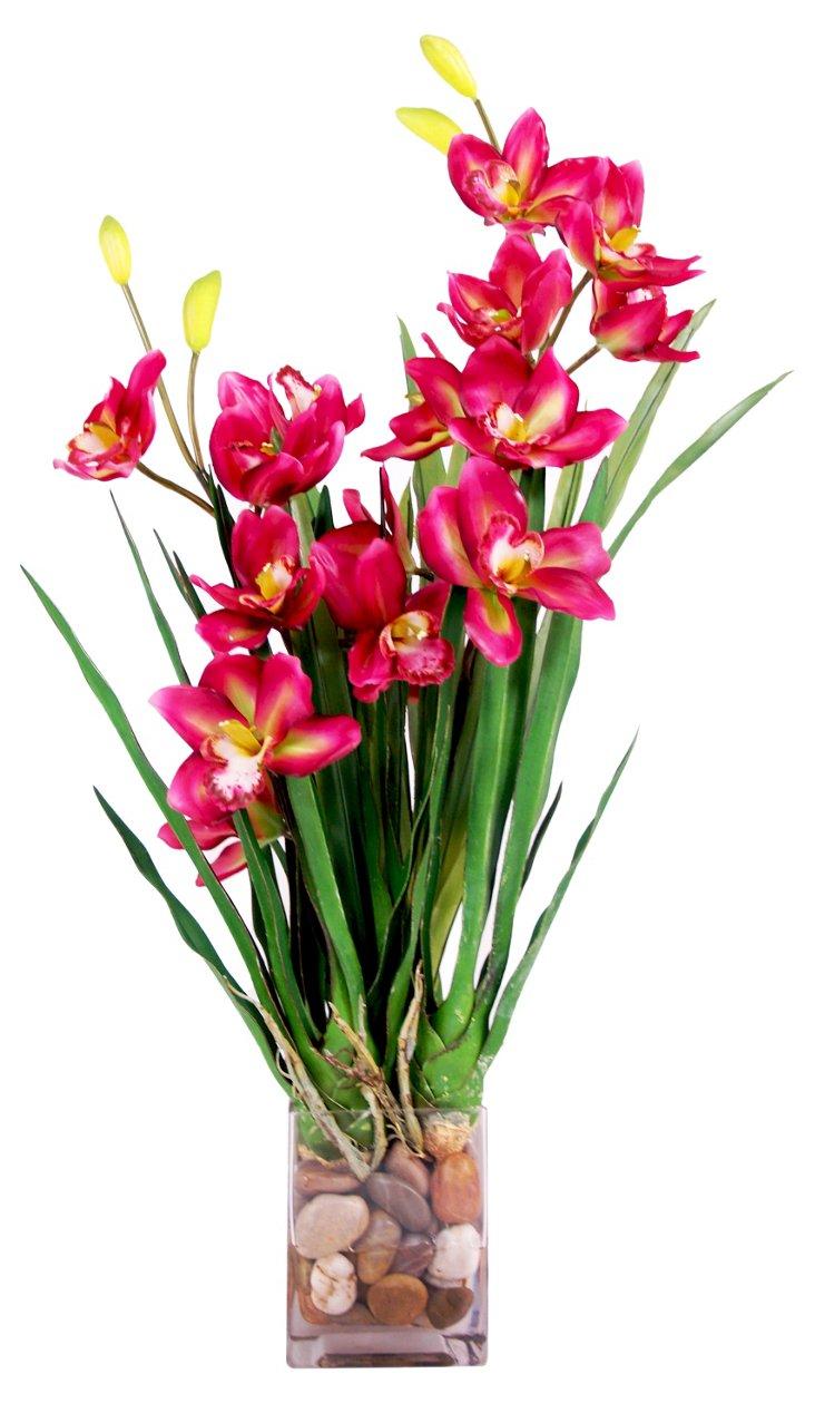 "29"" Cymbidium Orchids, Faux"