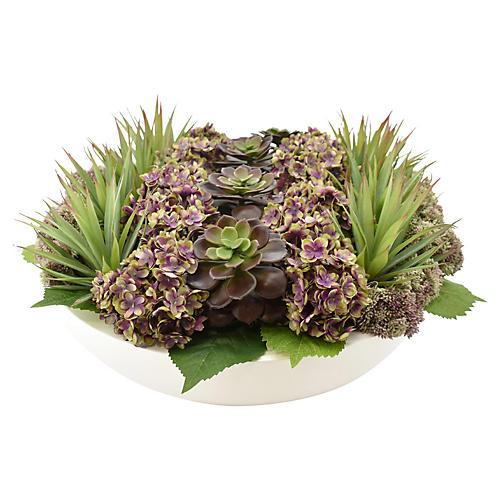 """18"""" Hydrangea & Cactus Arrangement, Faux"""