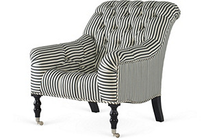 Mayfair Tufted Chair, Navy/White