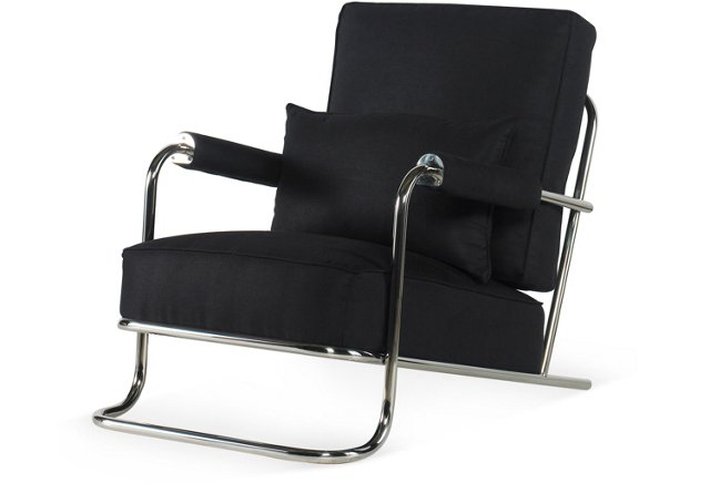 Driftwood Steel Lounge Chair, Black