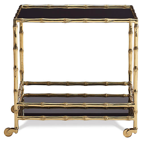 Brass Bamboo Bar Cart, Polished Brass
