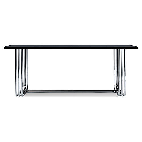 Tubular Steel Bauhaus Desk, Piano Black