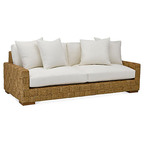 Black Palms Sofa, Sunbleached White Linen