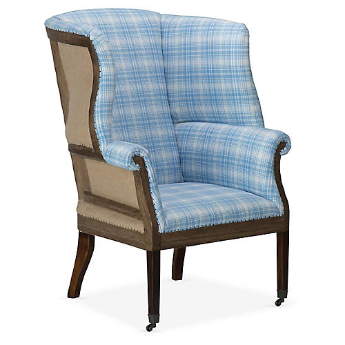 Hepplewhite Accent Chair, Sky Blue