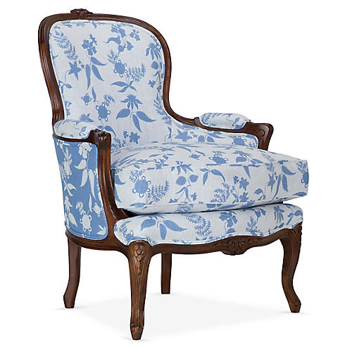 St. Germain Occasional Chair, Delft/White Linen