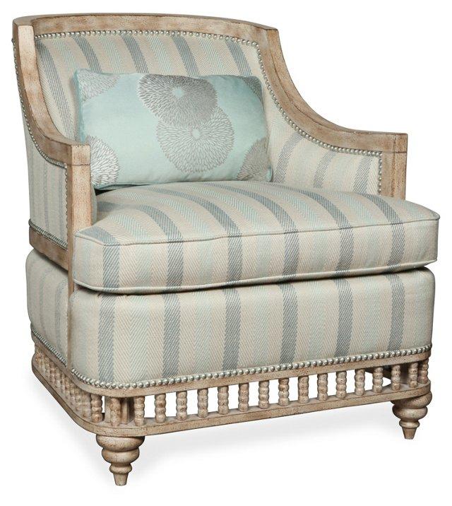 Kinsley Wingback Chair, Sky Blue