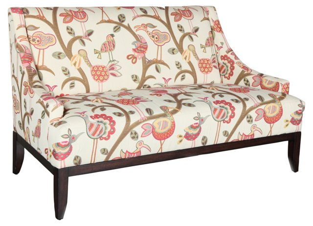 "Julia 61"" Scoop-Arm Settee, Ivory/Rose"