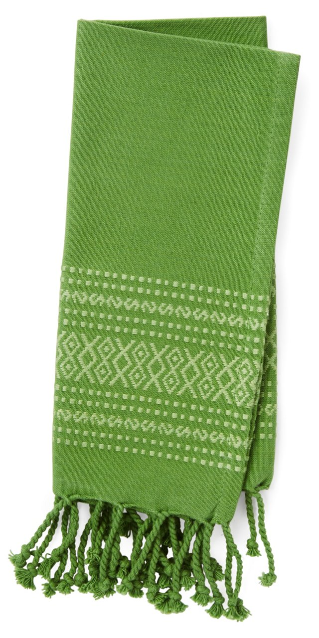 S/4 Diamond Jacquard Napkins, Green
