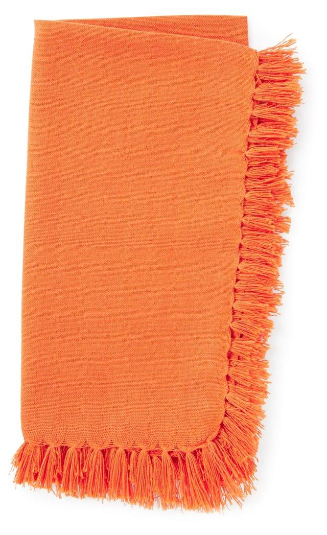 S/4 Fringed Napkins, Tangerine