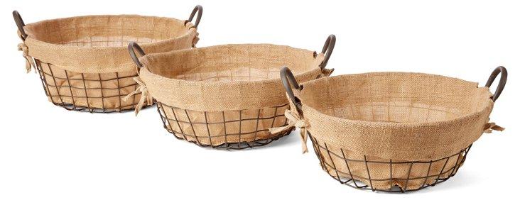 S/3 Assorted Burlap-Lined Metal Baskets