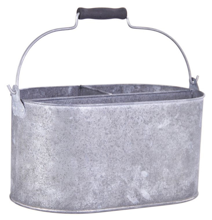 3-Compartment Oval Metal Bucket