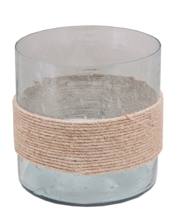 """8"""" Seeded Cylinder Votive, Clear"""