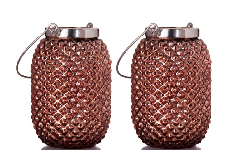 "S/2 4"" Pineapple Lanterns, Copper"