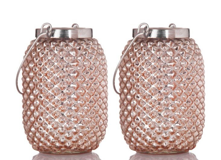 "S/2 4"" Pineapple Lanterns, Champagne"
