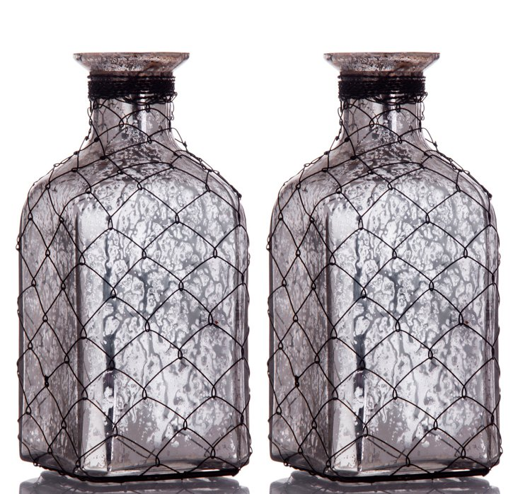"S/2 7"" Wire Mercury Glass Bottles"