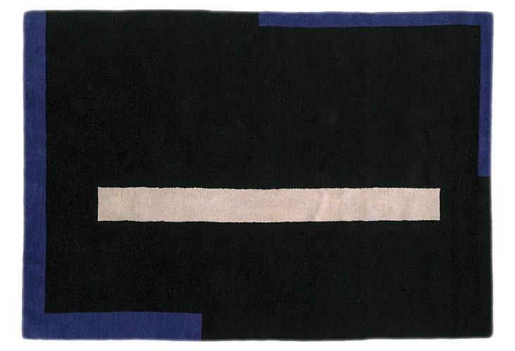 4'x6' Steven Holl Rug, Black/Cobalt/Tan