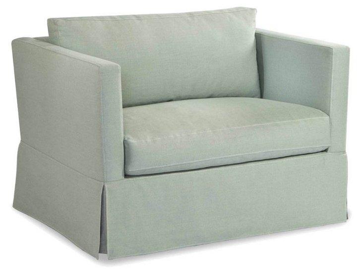 Helsa Linen Skirted Club Chair, Mint