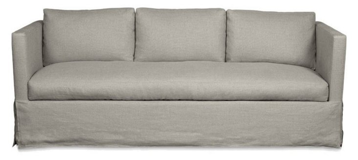"Spencer 89"" Linen Sofa, Flax"