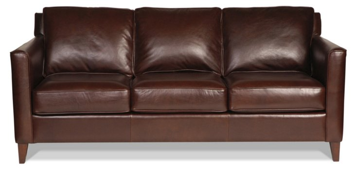 """Gramercy Park 80"""" Leather Sofa, Brown"""