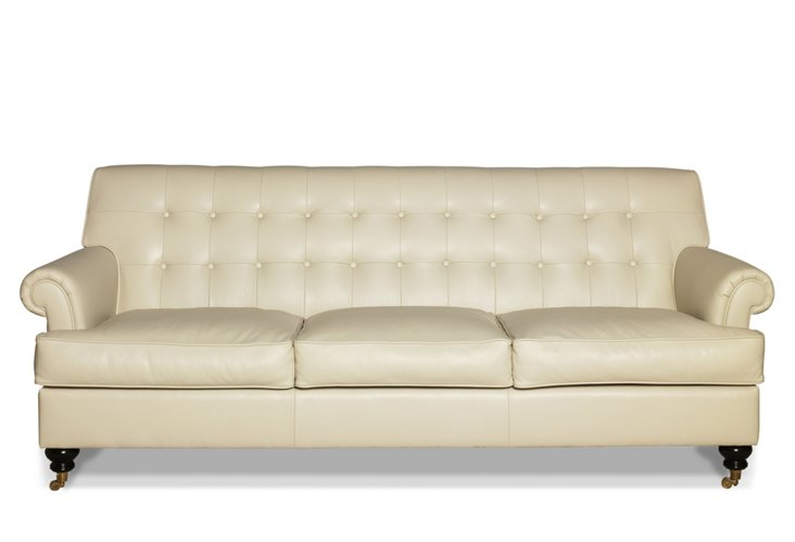 "Whitby 89"" Tufted Leather Sofa, Cream"