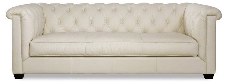 "Alexa 93"" Tufted Leather Sofa, Cream"