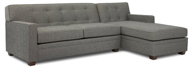Linden Tufted Sectional, Slate