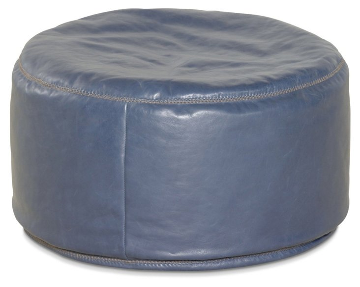 Candemir Leather Pouf, Periwinkle