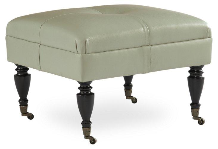 Leon Leather Footstool, Mint