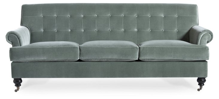 "Whitby 89"" Tufted Velvet Sofa, Blue-Gray"