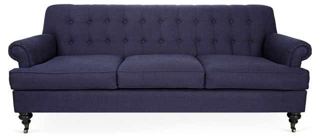 "Whitby 89"" Tufted Linen Sofa, Ink"