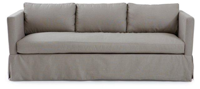 """Spencer 89"""" Linen Sofa, Gray"""