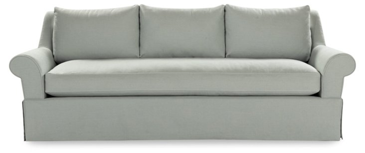 "Helsa 93"" Linen Sofa, Dove Gray"