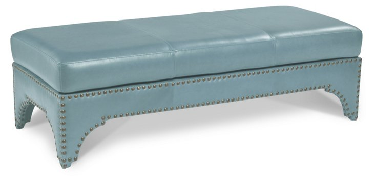 """Candemir 61"""" Leather Bench, Sky Blue"""