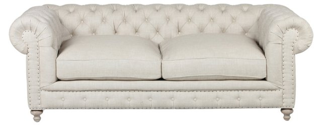 Finn Tufted Linen Sofa, Cream