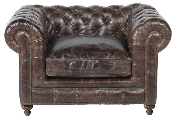 Finn Leather Club Chair, Chocolate