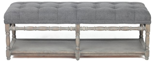 Lars Tufted Bench, Slate