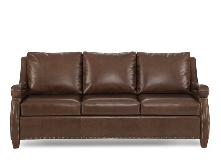 "Winston 82"" Leather Sofa, Chocolate"