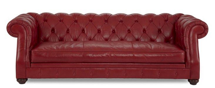 """Carlisle 96"""" Tufted Leather Sofa, Red"""