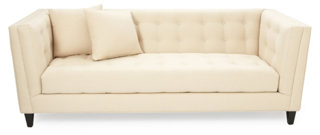 "Bennett 86"" Tufted Sofa, Cream"