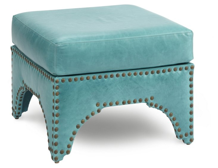 "Candemir 24"" Ottoman, Turquoise Leather"