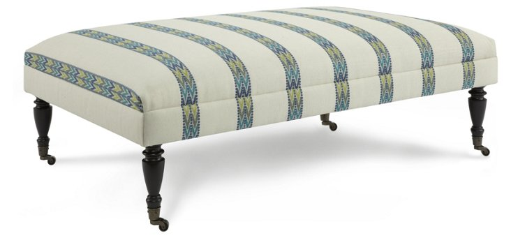 "Landon 54"" Ottoman, Cream/Blue Stripe"