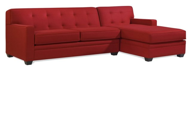 Linden Tufted Sectional, Cherry