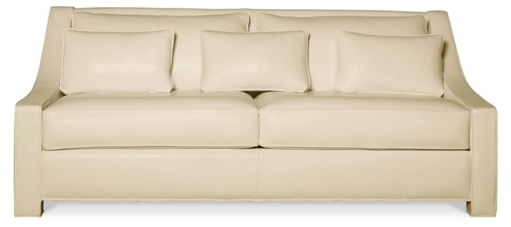 "Taylor 84"" Leather Sofa, Almond"