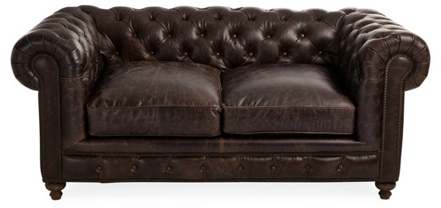 Finn Tufted Leather Sofa, Chocolate