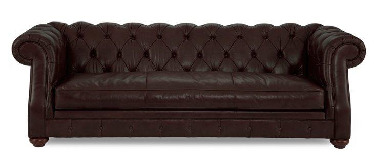 """Carlisle 96"""" Tufted Leather Sofa, Coffee"""