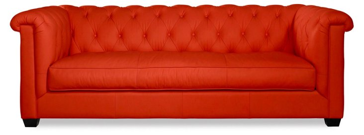 "Alexa 93"" Tufted Leather Sofa, Poppy"